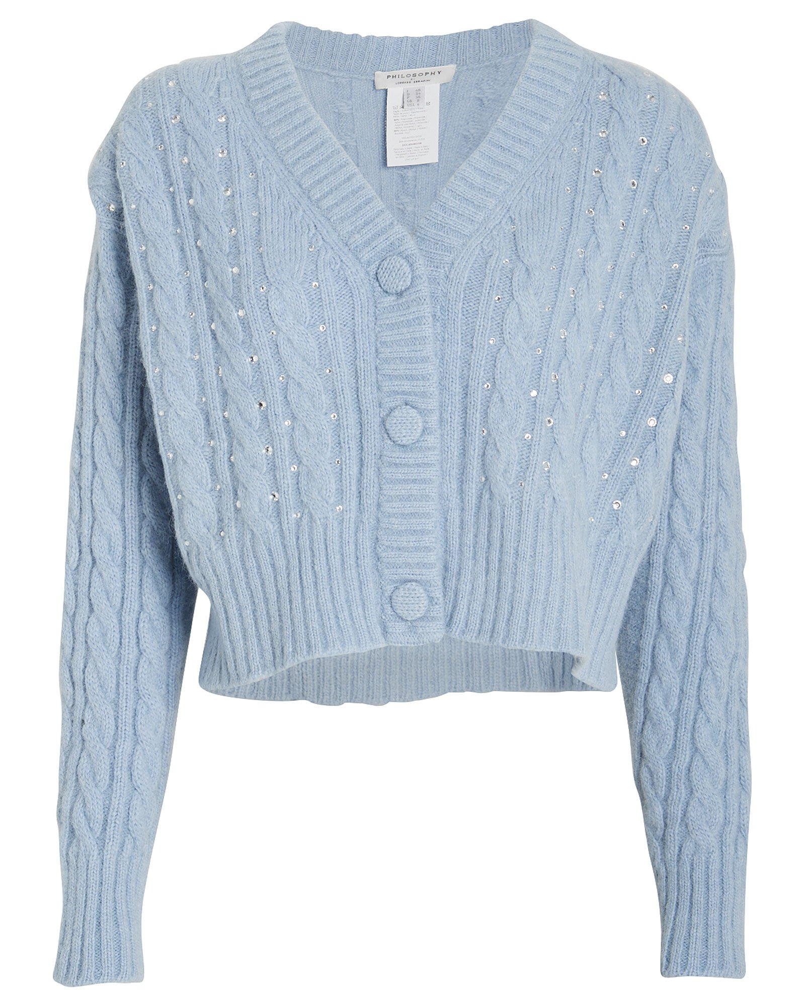 Crystal-Embellished Cable Knit Cardigan