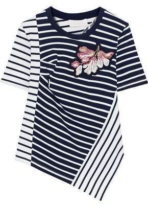 Asymmetric Appliqued Striped Cotton-jersey T-shirt