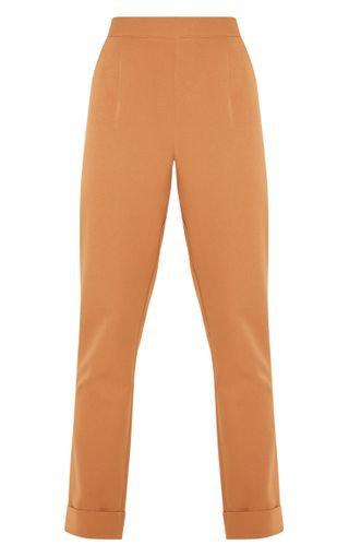 Tan Straight Leg Trouser | Trousers | PrettyLittleThing