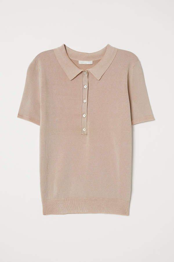 Fine-knit Polo Shirt - Beige
