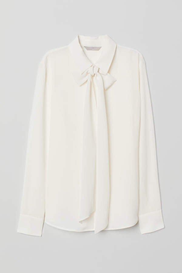 Silk Tie Blouse - White