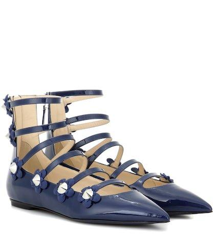 Embellished patent leather sandals