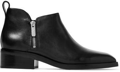 Alexa Leather Ankle Boots - Black