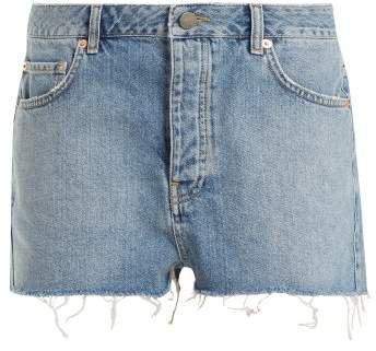 Hawaii Raw Cut Distressed Denim Shorts - Womens - Light Blue