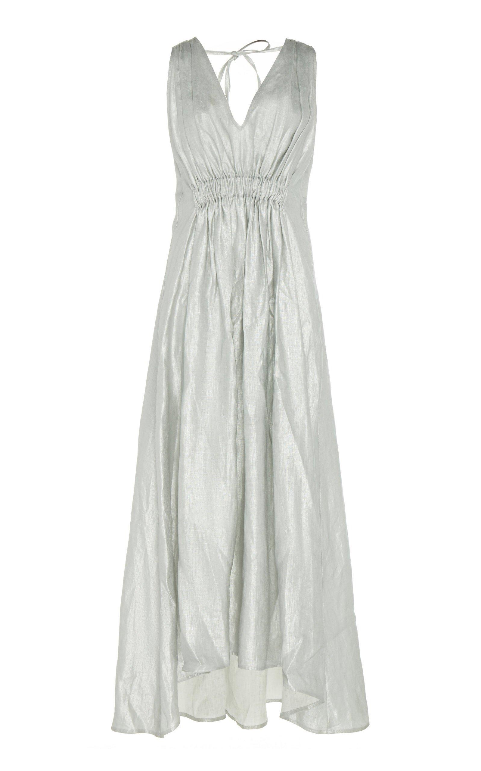 White Story Operato Ruched Linen Midi Dress