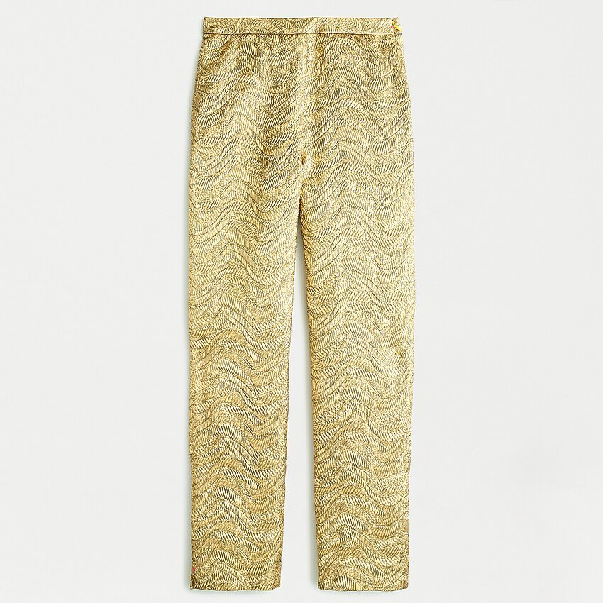 Collection High-rise Cigarette Pant In Metallic Leaf Jacquard :   J.Crew gold