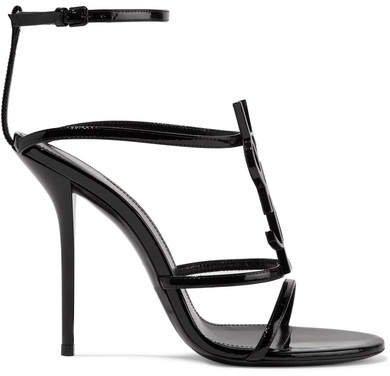Cassandra Logo-embellished Patent-leather Sandals - Black
