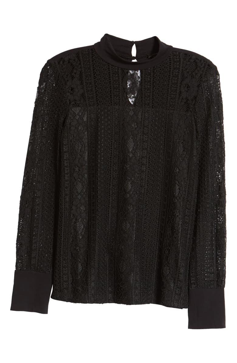 Halogen® Lace Mock Neck Top black