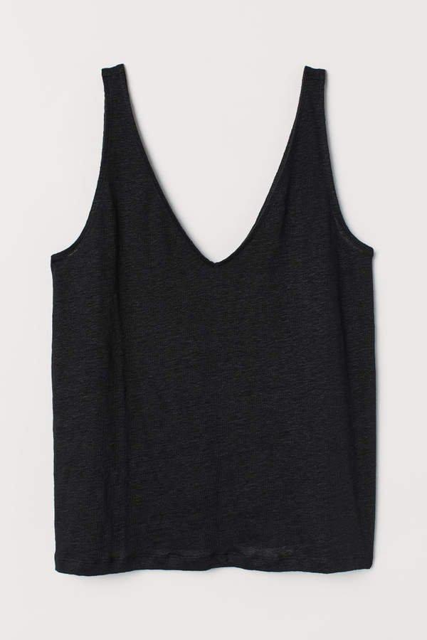 Linen Tank Top - Black