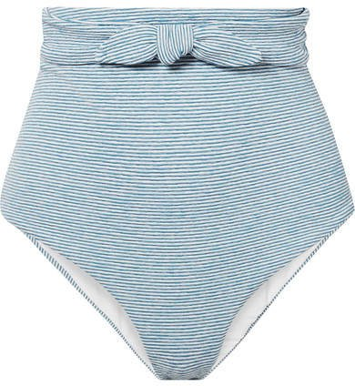 Jay Knotted Striped Jacquard-knit Bikini Briefs - Light blue