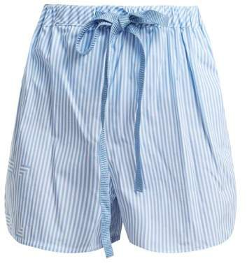 Striped Cotton Poplin Shorts - Womens - Light Blue