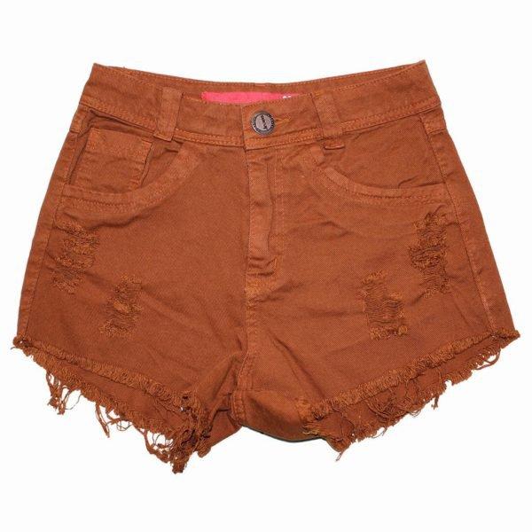 Shorts Jeans Feminino Rasgado Desfiado Corte Reto