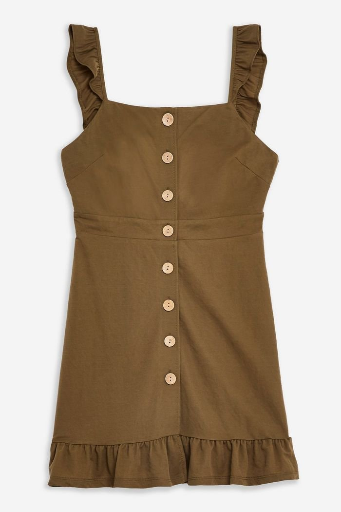 Khaki Frill Mini Dress | Topshop olive