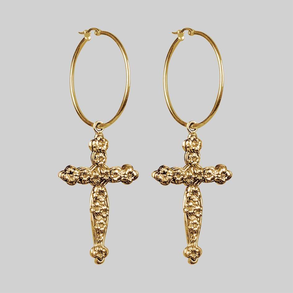 gold cross earrings - Google Search