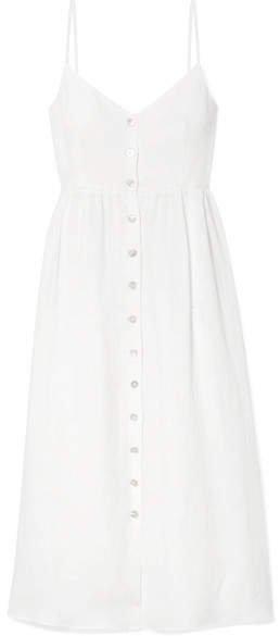 Linen Midi Dress - Ivory