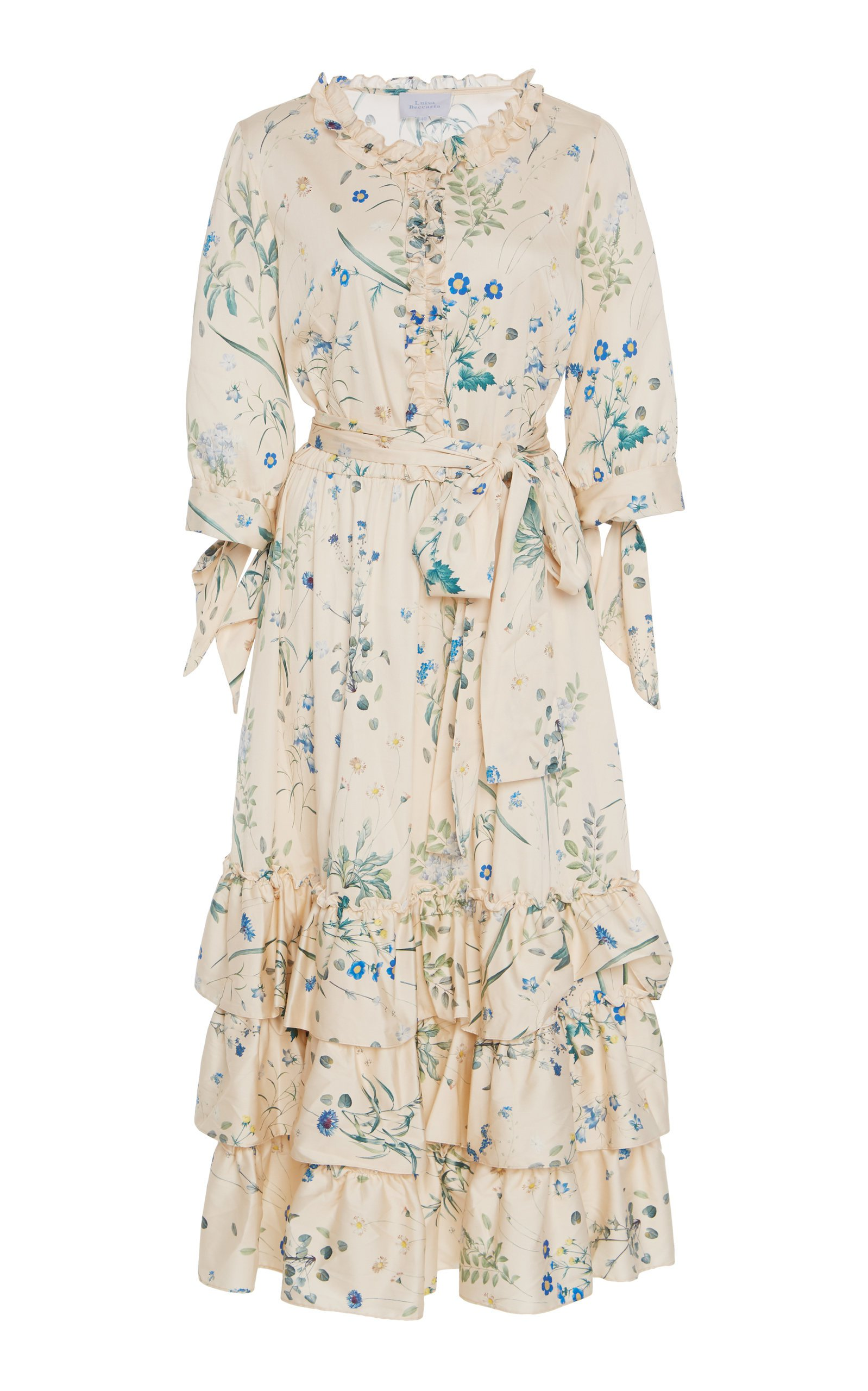 Luisa Beccaria Tiered Floral Midi Dress