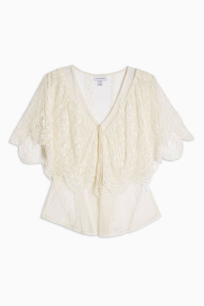 Embroidered Tie Front Blouse | Topshop