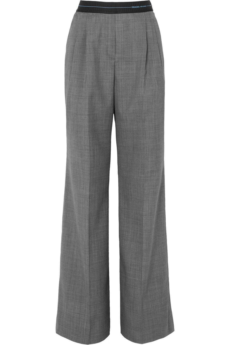 Prada | Checked wool wide-leg pants | NET-A-PORTER.COM