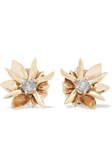 Meadowlark | Wildflower 9-karat gold diamond earrings | NET-A-PORTER.COM