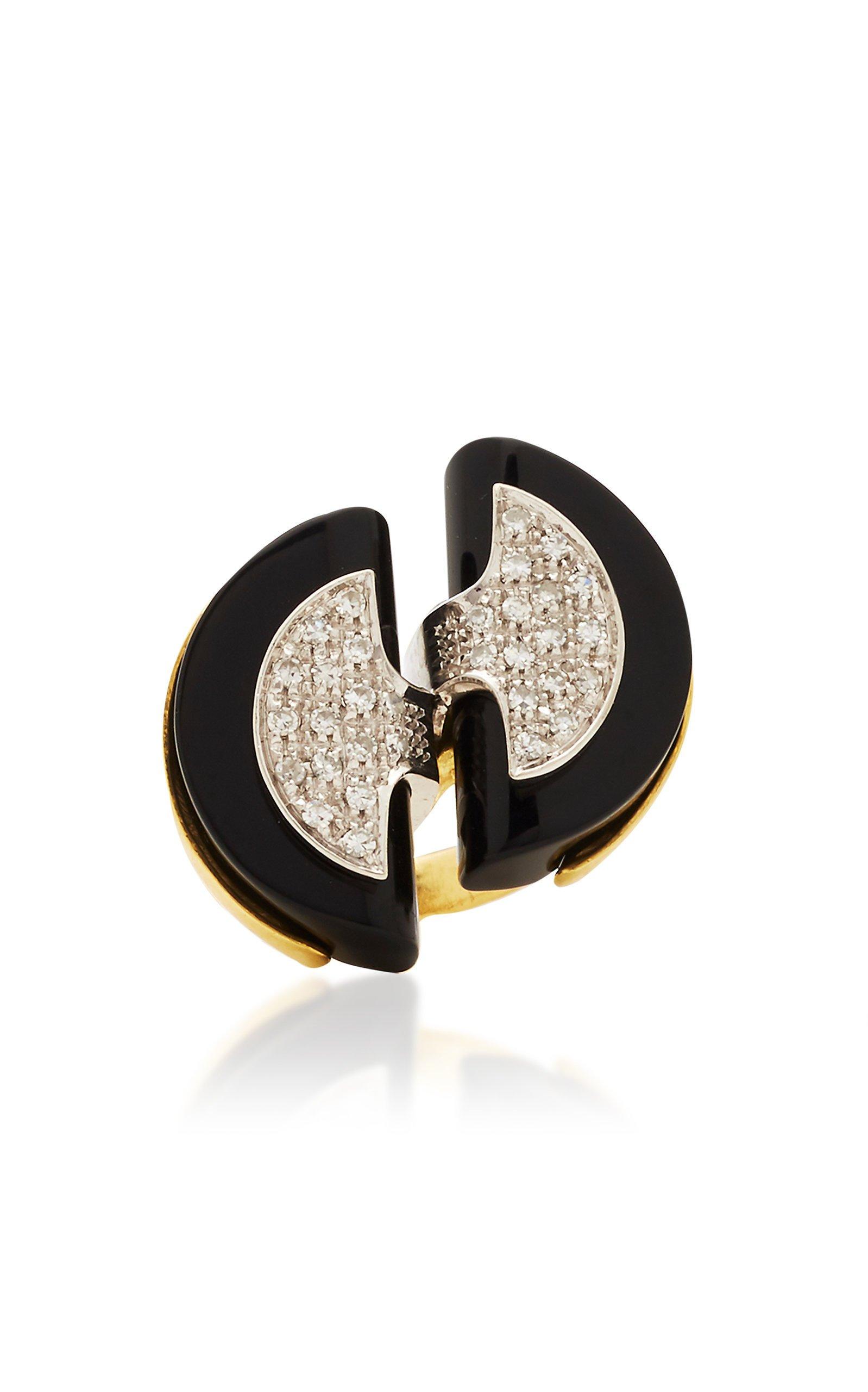 Eleuteri Vintage 18K Yellow Gold Onyx and Diamond Cocktail Ring