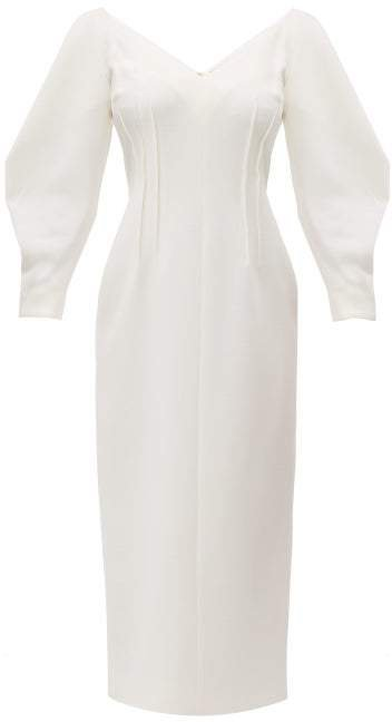 Calla V Neck Wool Crepe Midi Dress - Womens - Ivory