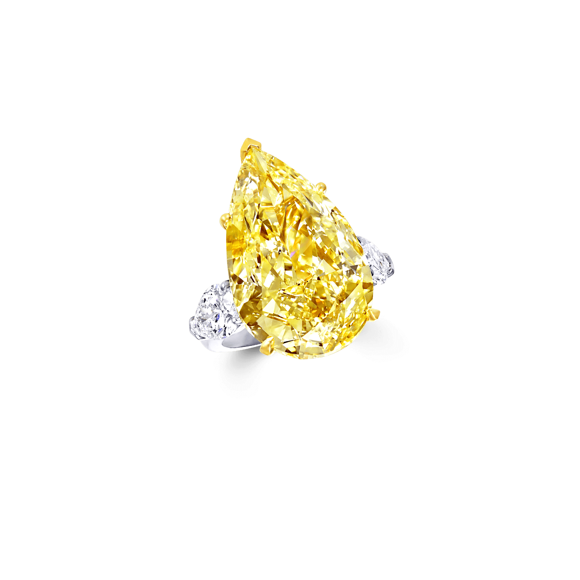 Pear Shape Yellow and White Diamond Ring | Graff