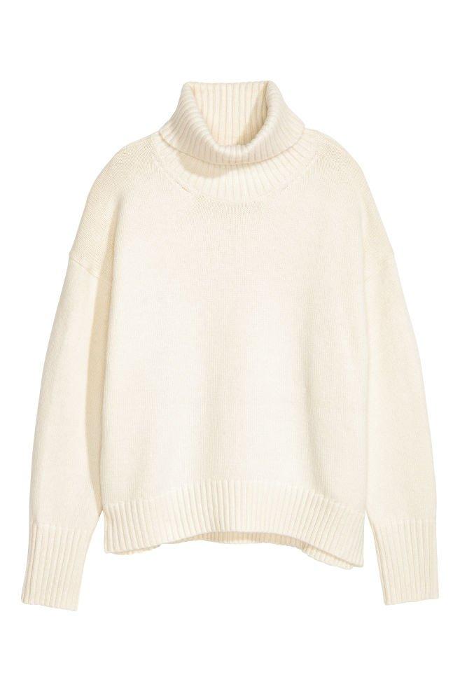 H&M White Knit Turtleneck Sweater