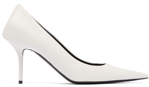 Square Knife Leather Pumps - Womens - White