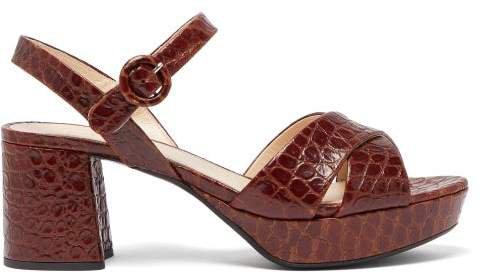 Platform Crocodile Effect Leather Sandals - Womens - Dark Brown
