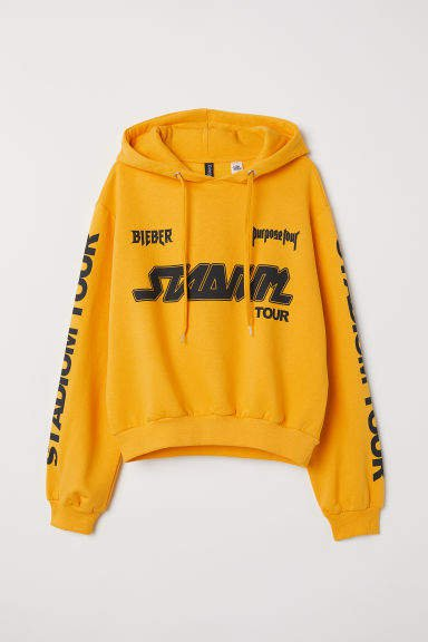 Short Hooded Sweatshirt - Yellow
