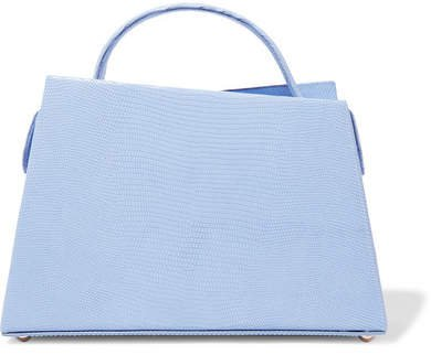 Maurice Lizard-effect Leather Tote - Blue