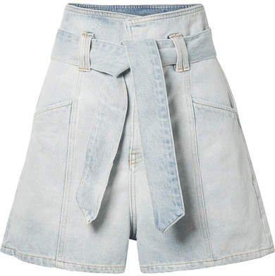 Voukko Belted Denim Shorts - Light denim