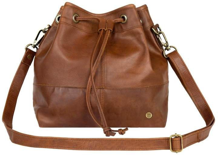 MAHI Leather - Classic Bucket Drawstring Bag In Vintage Brown Leather