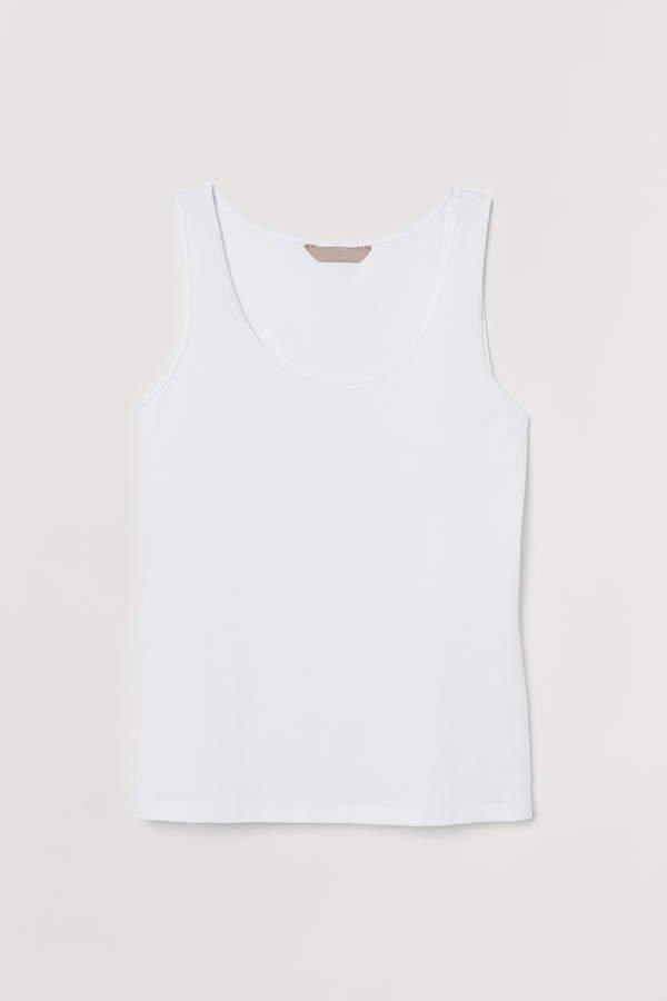 H&M+ Cotton Tank Top - White