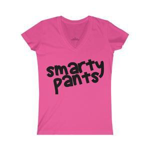 "Bright Pink ""Smarty Pants"" Women's Fine Jersey V-neck Tee – School Spirit Stuff"