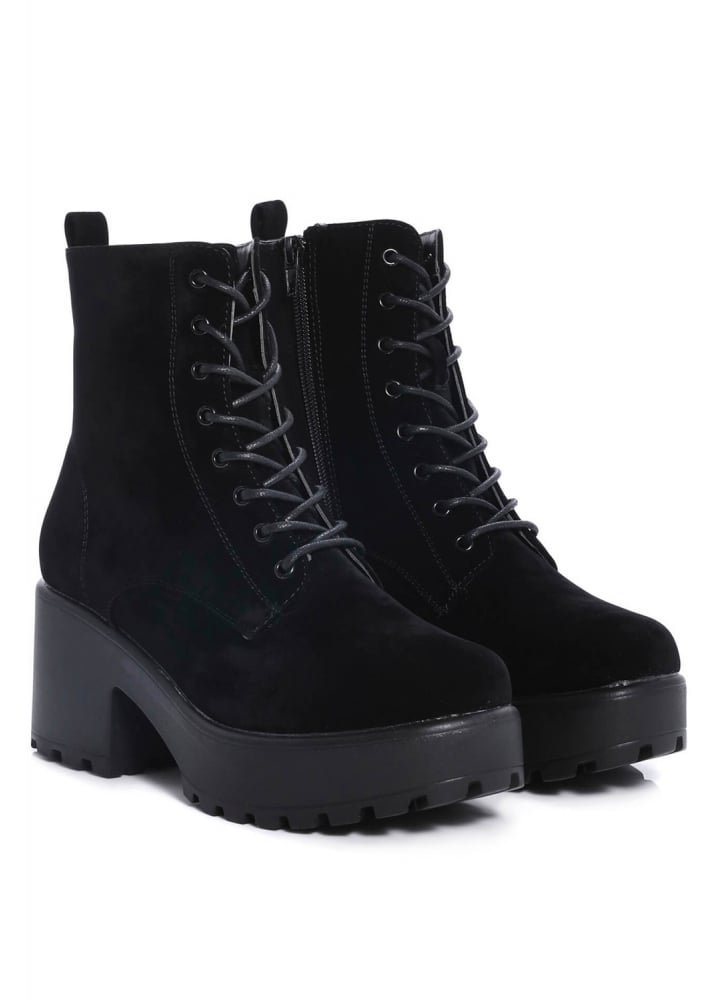 Thick Soled Lace Up Suede Boot
