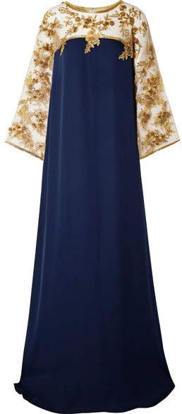 Embellished Tulle-trimmed Silk Gown - Navy