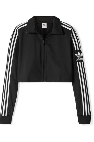 adidas Originals   Cropped striped tech-jersey track jacket   NET-A-PORTER.COM