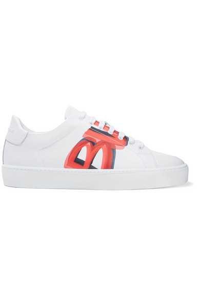 Burberry | Logo-print leather sneakers | NET-A-PORTER.COM