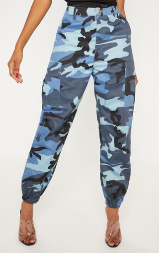 Blue Camo Pocket Cargo Trousers | Trousers | PrettyLittleThing