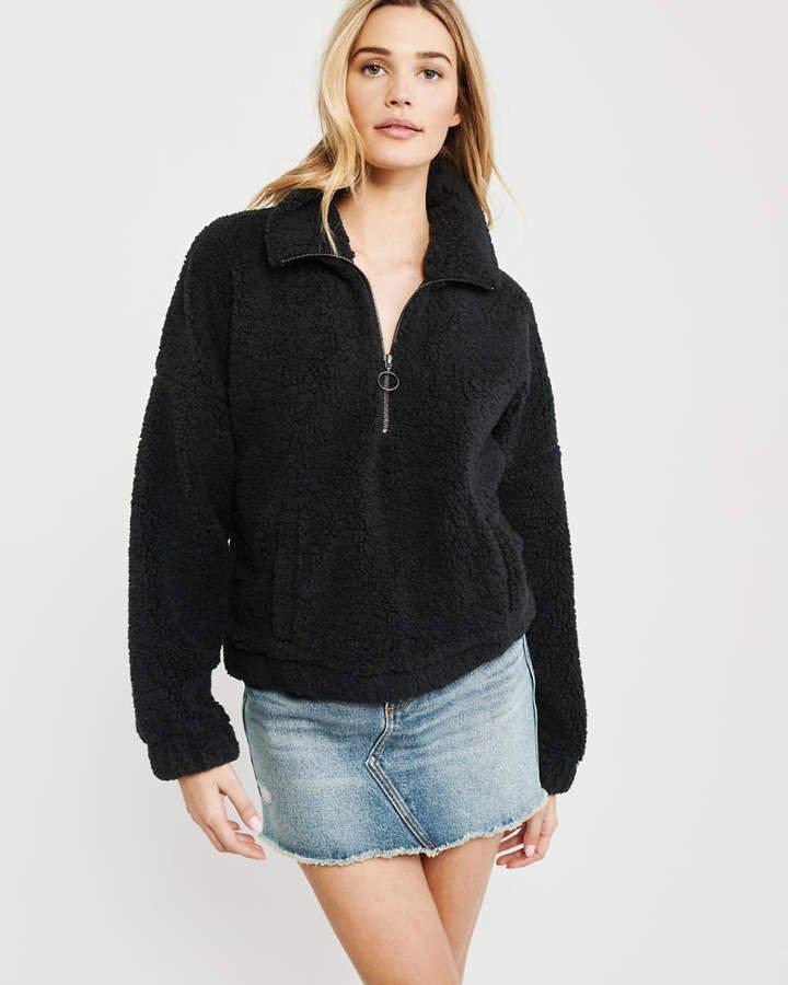 A&F Women's Colorblock Sherpa Half-Zip Sweatshirt in Black - Size M