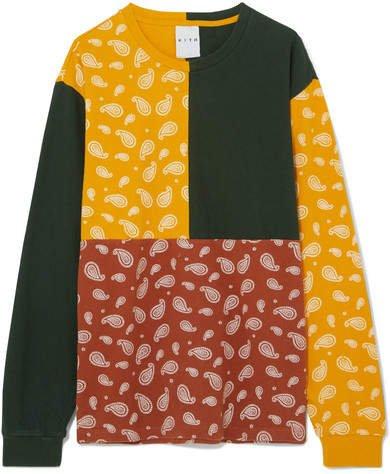 Kith - Paneled Printed Cotton-jersey T-shirt - Mustard