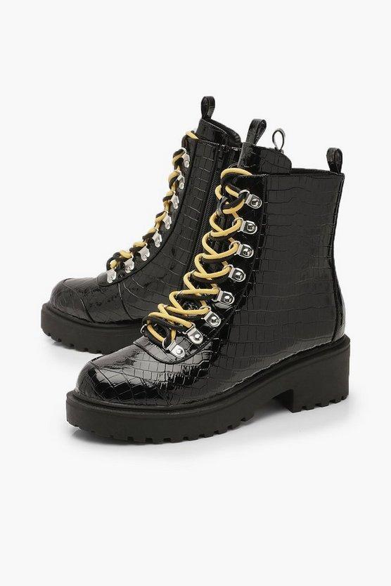 Croc Double Lace Chunky Hiker Boots | Boohoo