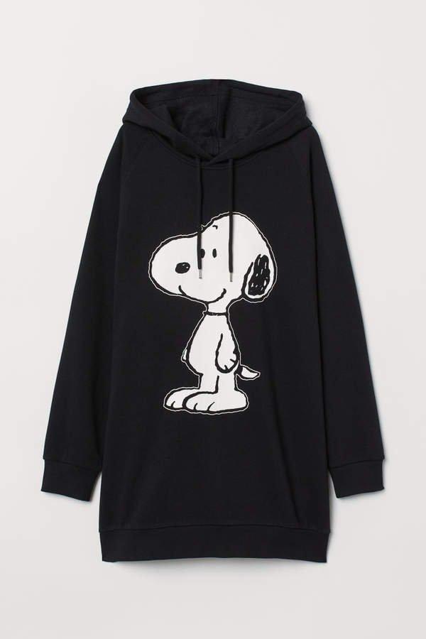 Long Hooded Sweatshirt - Black
