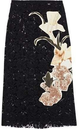 Floral-appliqued Silk Corded Lace Skirt