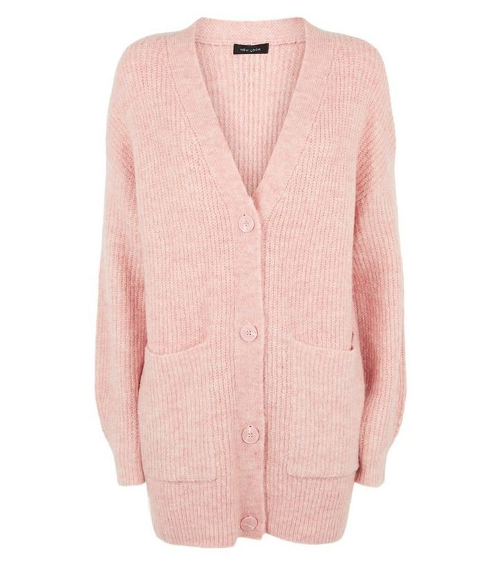Pale Pink Long Sleeve Button Up Knitted Cardigan | New Look