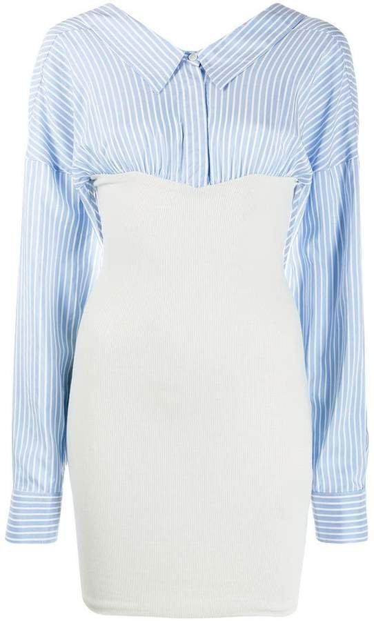 poplin-panelled dress