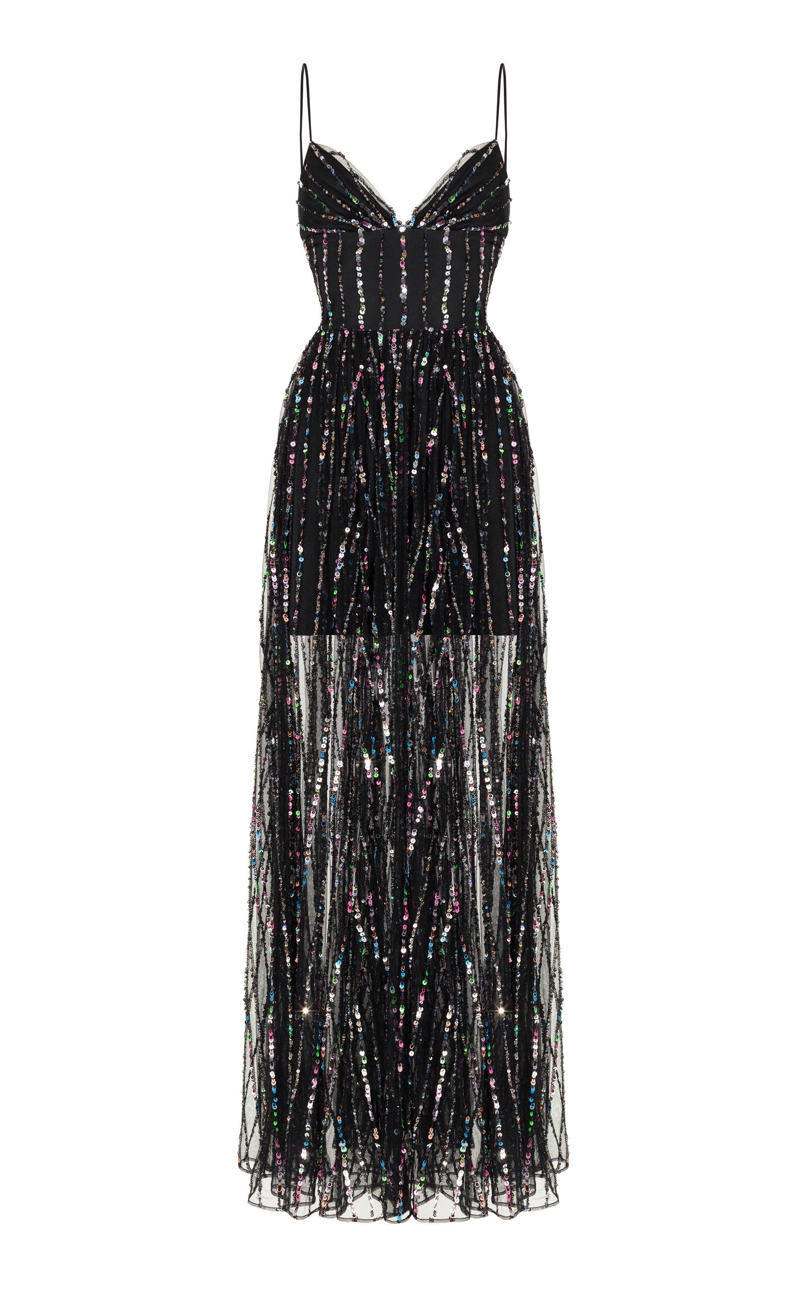 Rasario Sleeveless Sequined Tulle Gown
