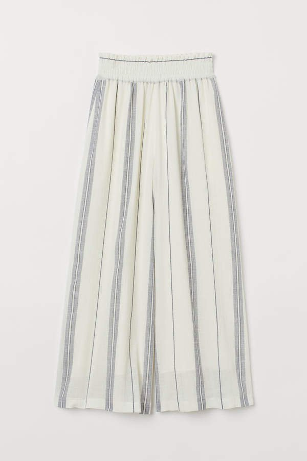 Wide-cut Pull-on Pants - White