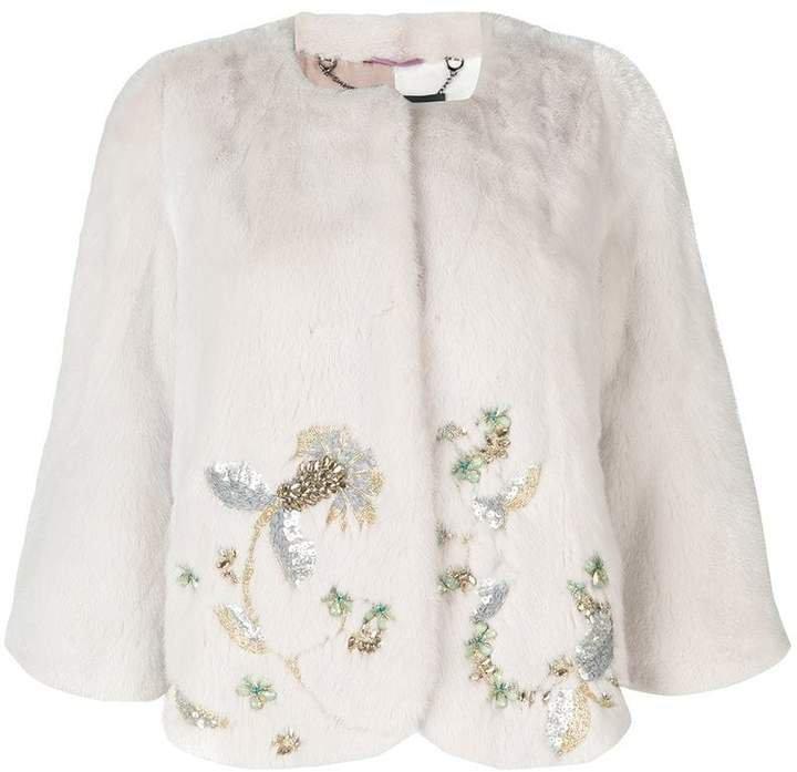 Mila Jasmine Embellished Mink Jacket